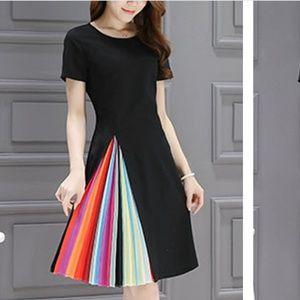 Dresses & Skirts - Black Peekaboo Pleated Rainbow Dress